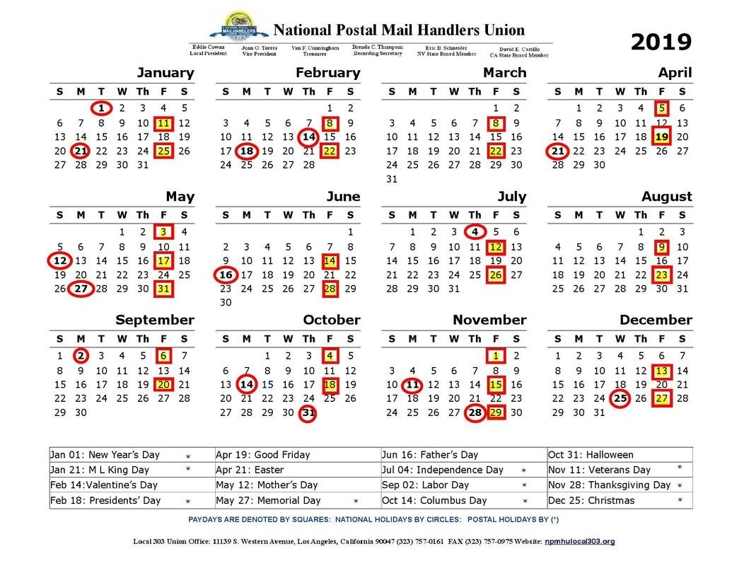 National Postal Mail Handlers Union Local 303 - Npmhu Local  Postal Pay Periods 2020