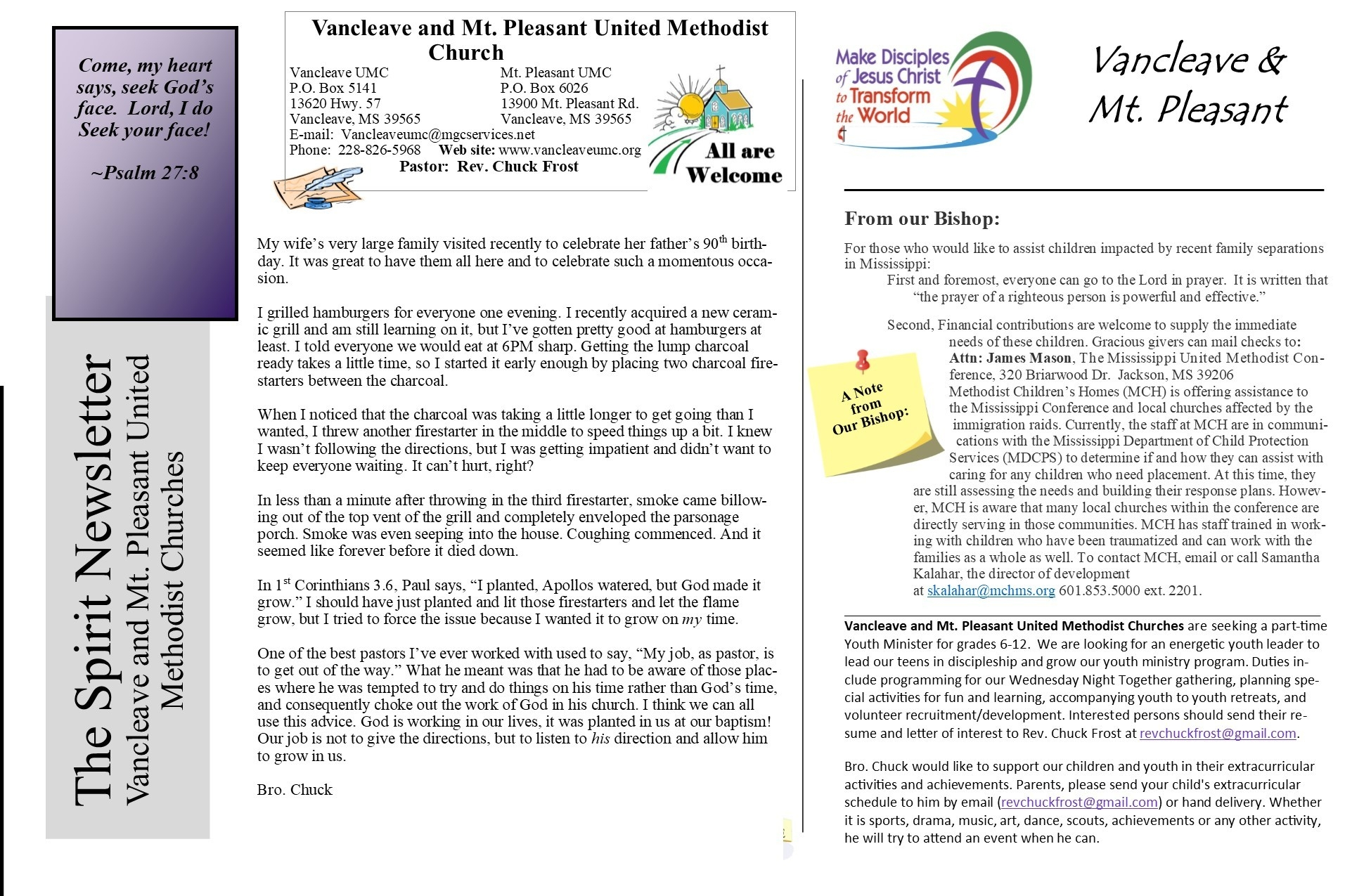News And Connections - Vancleave + Mt. Pleasant United  Unite Methodist Calender - Christian Calender Year Subjects