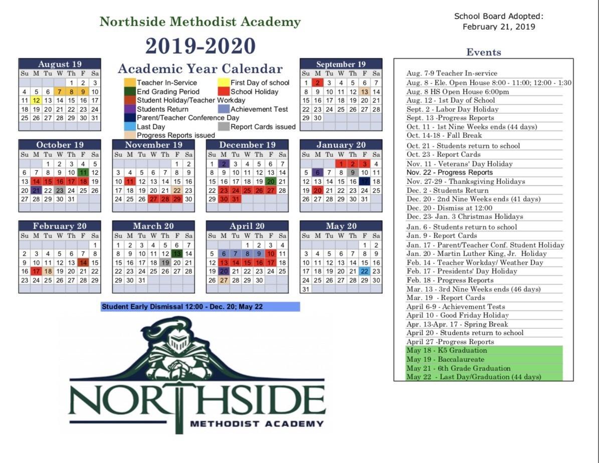 Northside Methodist Academy: Calendar  Methodist Church Liturgical Calendar 2020