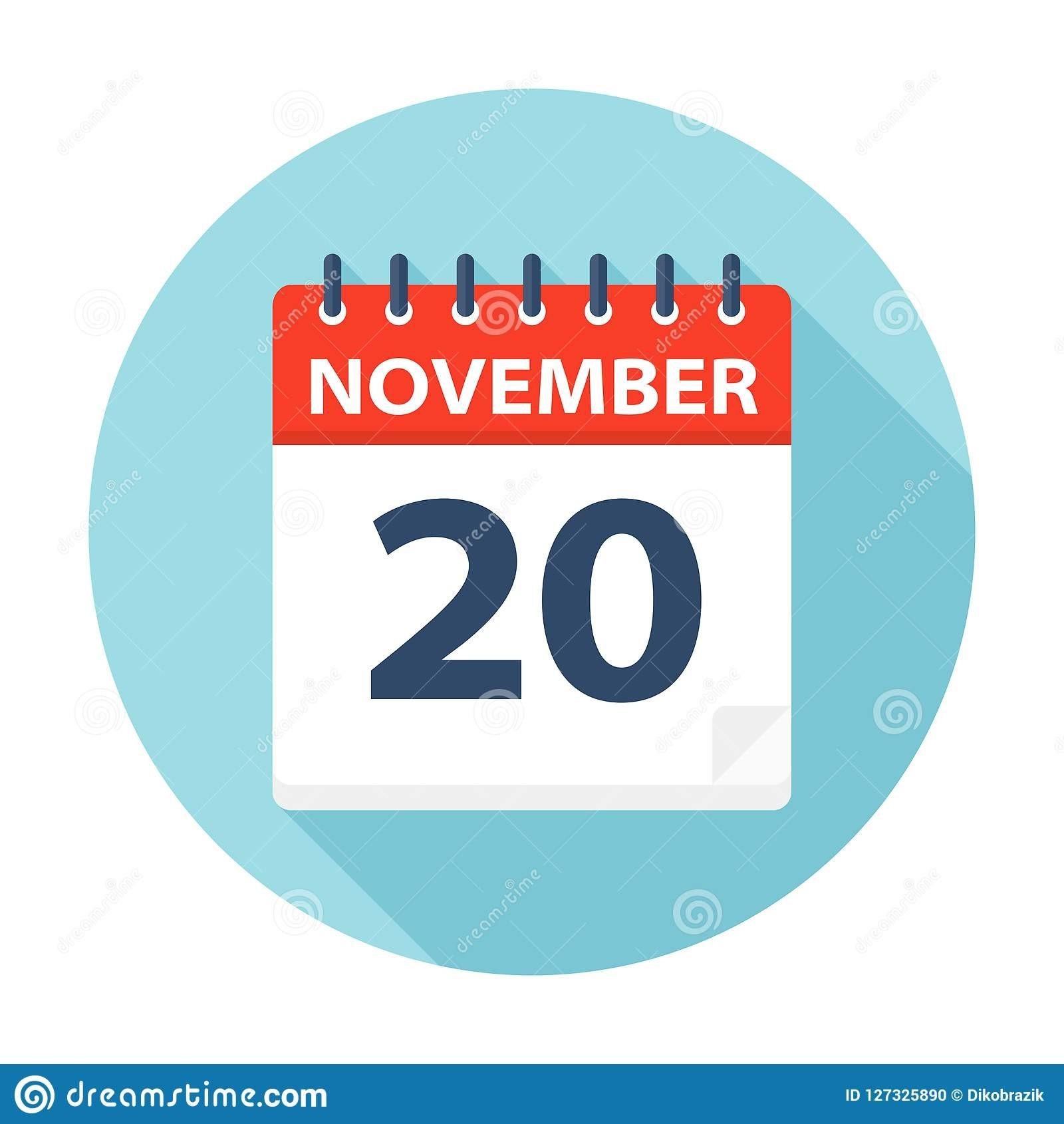 November 20 - Calendar Icon Stock Illustration  November Clipart 2020