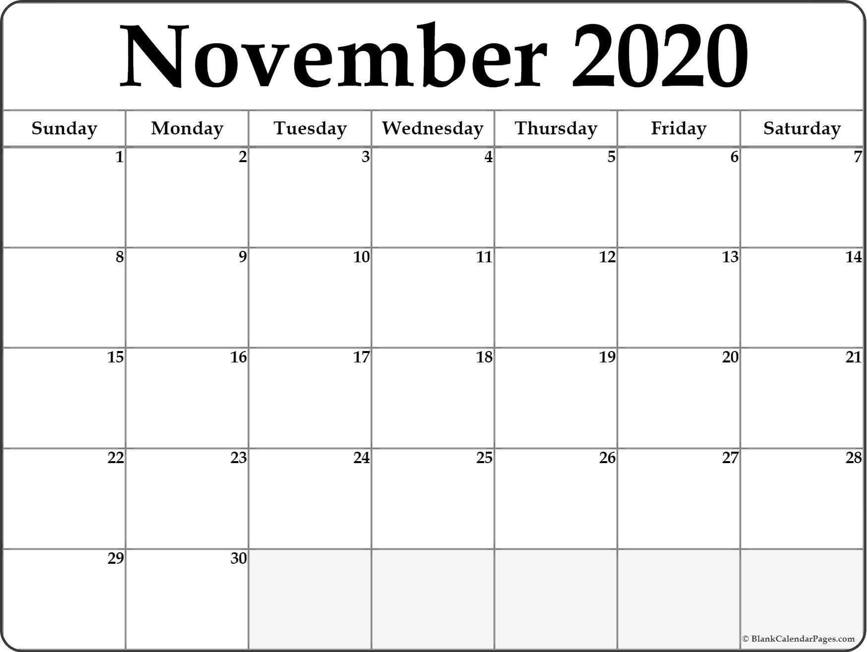 November 2020 Calendar   Free Printable Monthly Calendars  Novemner 2020 Full Page Calander Template