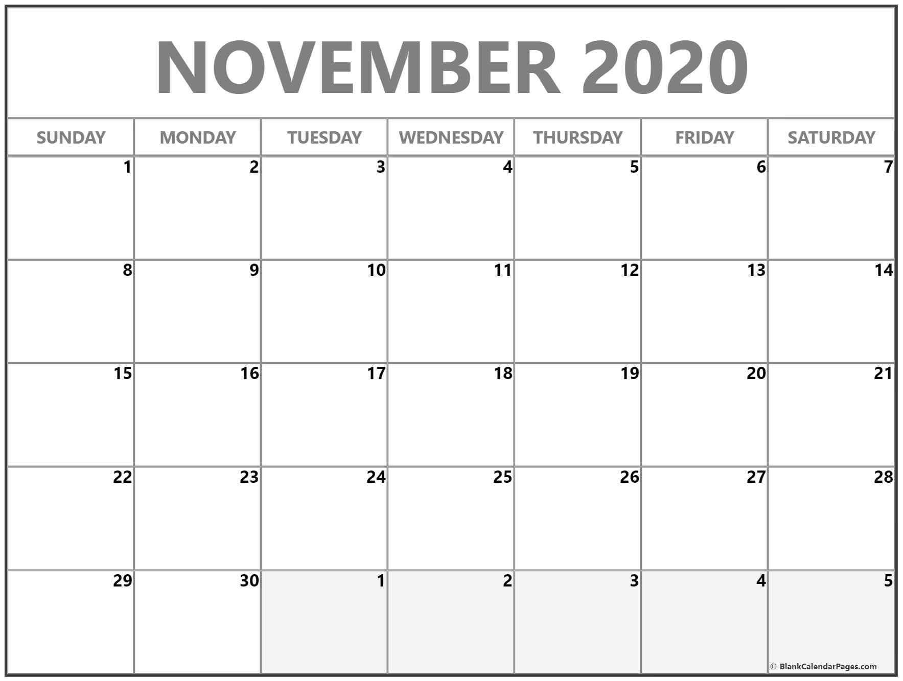 November 2020 Calendar | Free Printable Monthly Calendars  Novemner 2020 Full Page Calander Template