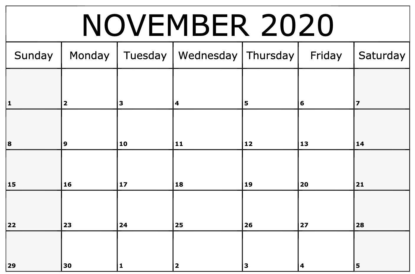 November 2020 Calendar Printable Template   Monthly  Novemner 2020 Full Page Calander Template