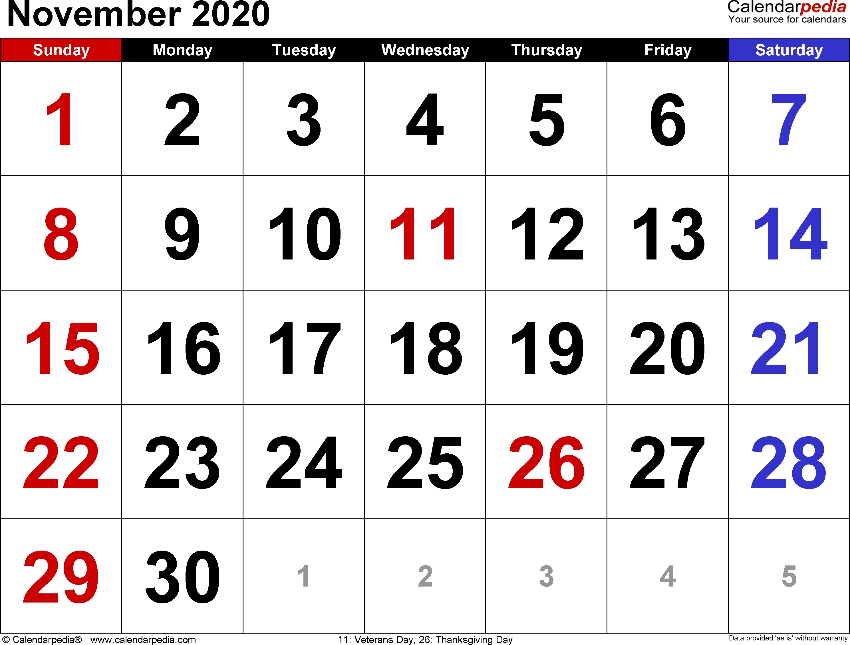 November 2020 Calendars For Word, Excel & Pdf  Novemner 2020 Full Page Calander Template