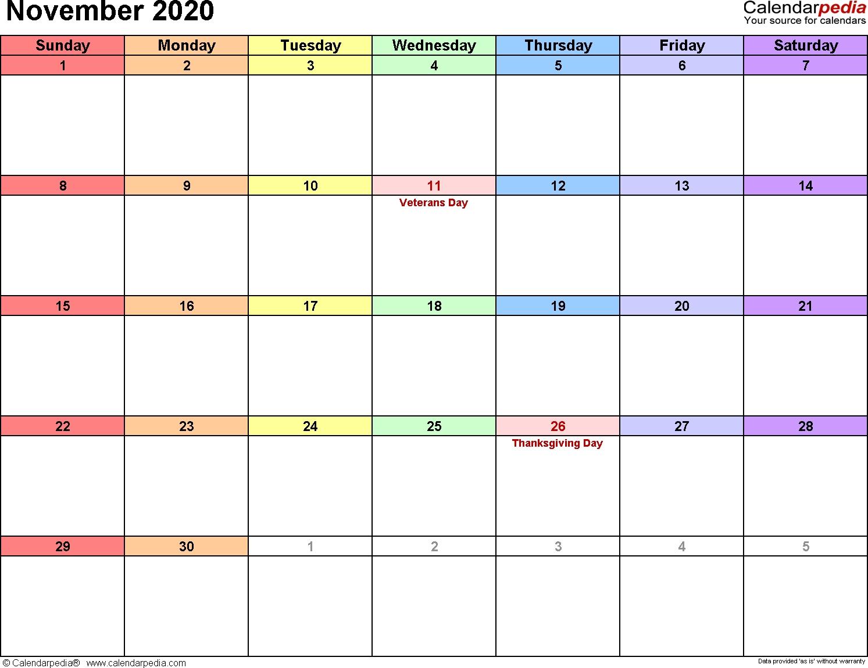 November 2020 Calendars For Word, Excel & Pdf  Novemner 2020 Full Page Calander Template