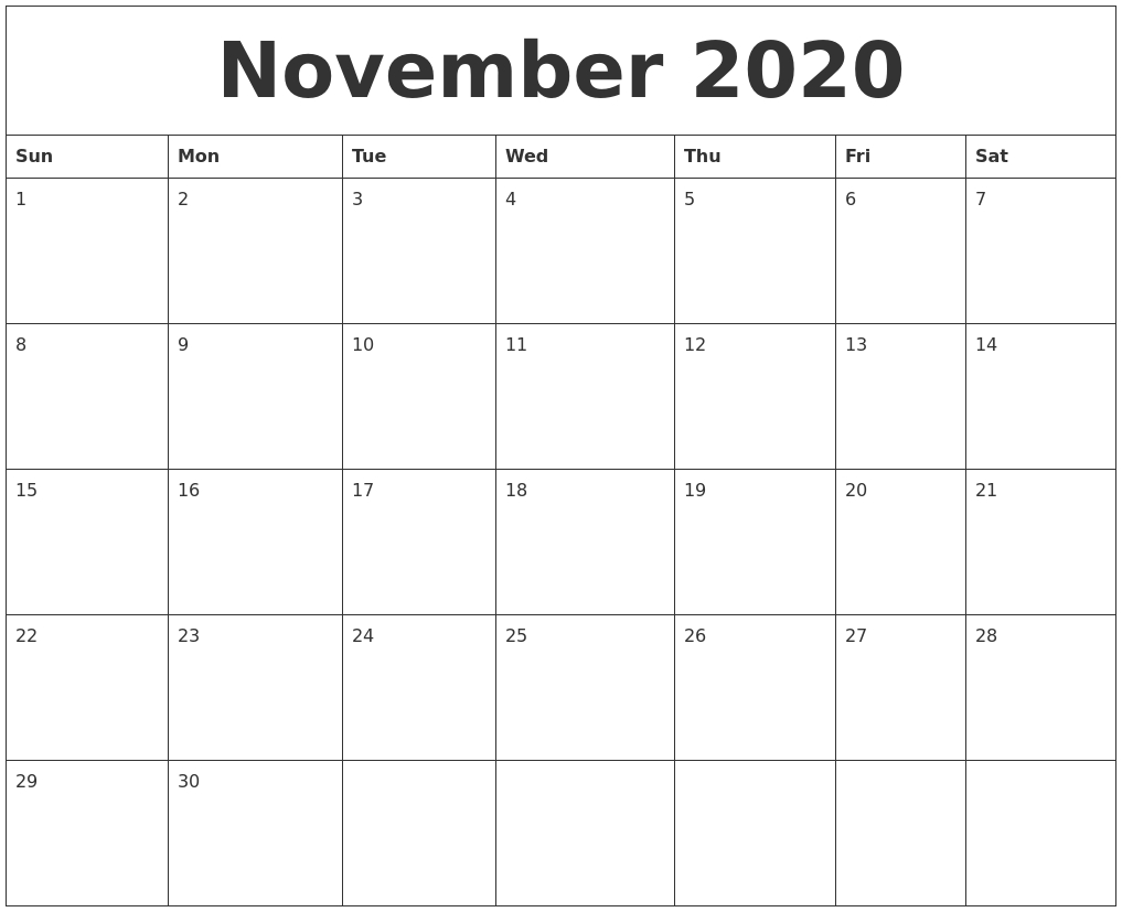 November 2020 Editable Calendar Template  Novemner 2020 Full Page Calander Template