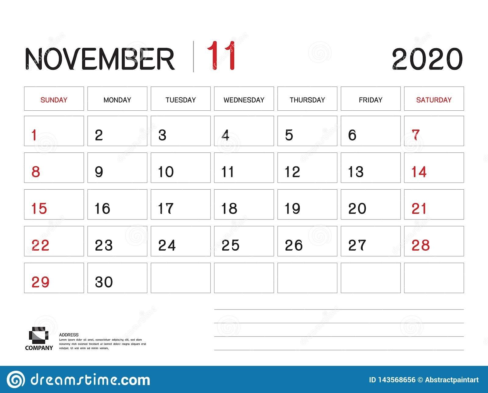 November 2020 Year Template, Calendar 2020 Vector, Desk  November Clipart 2020