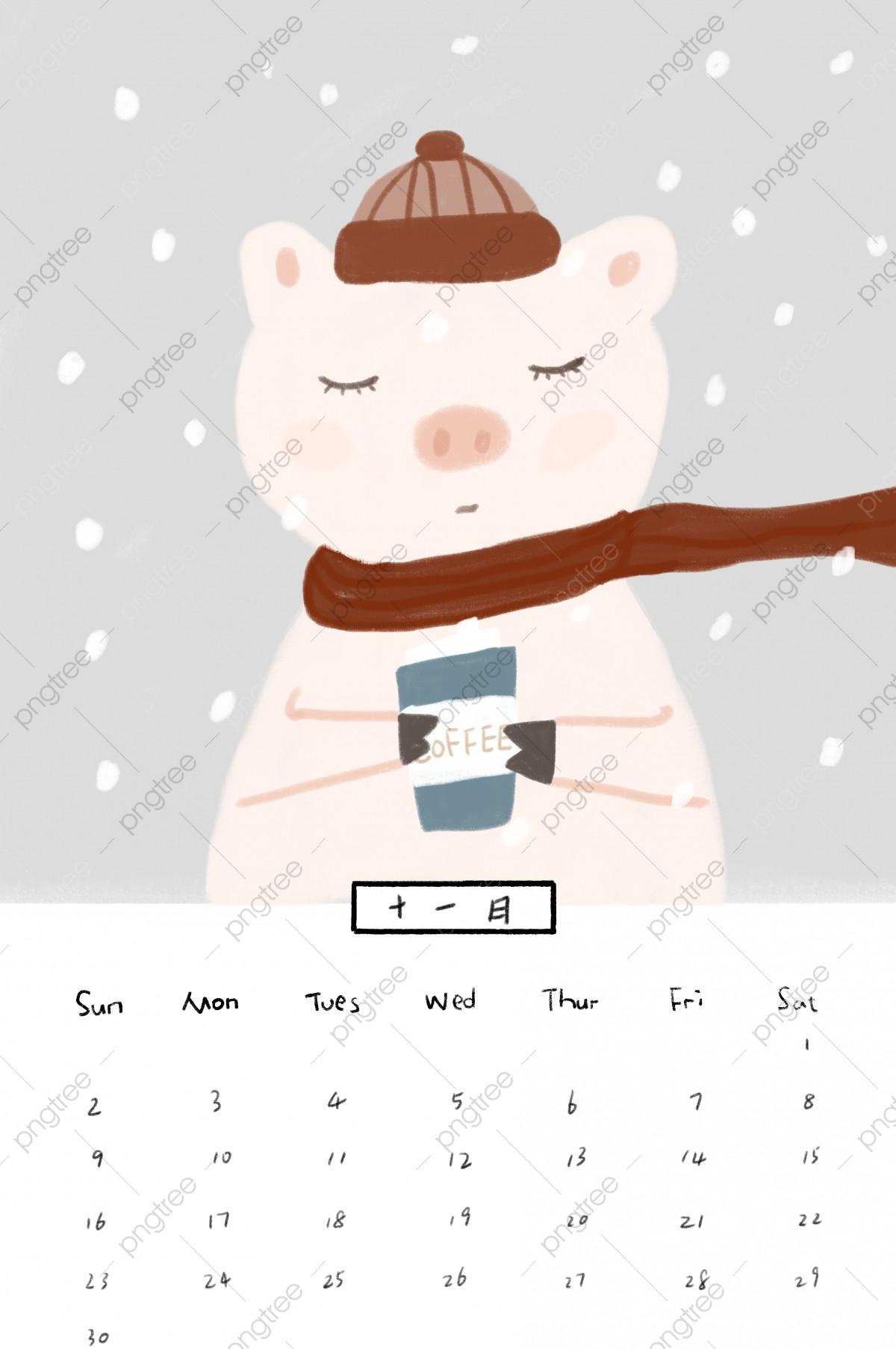 November November Calendar Hand Drawn Calendar Winter  November Clipart 2020