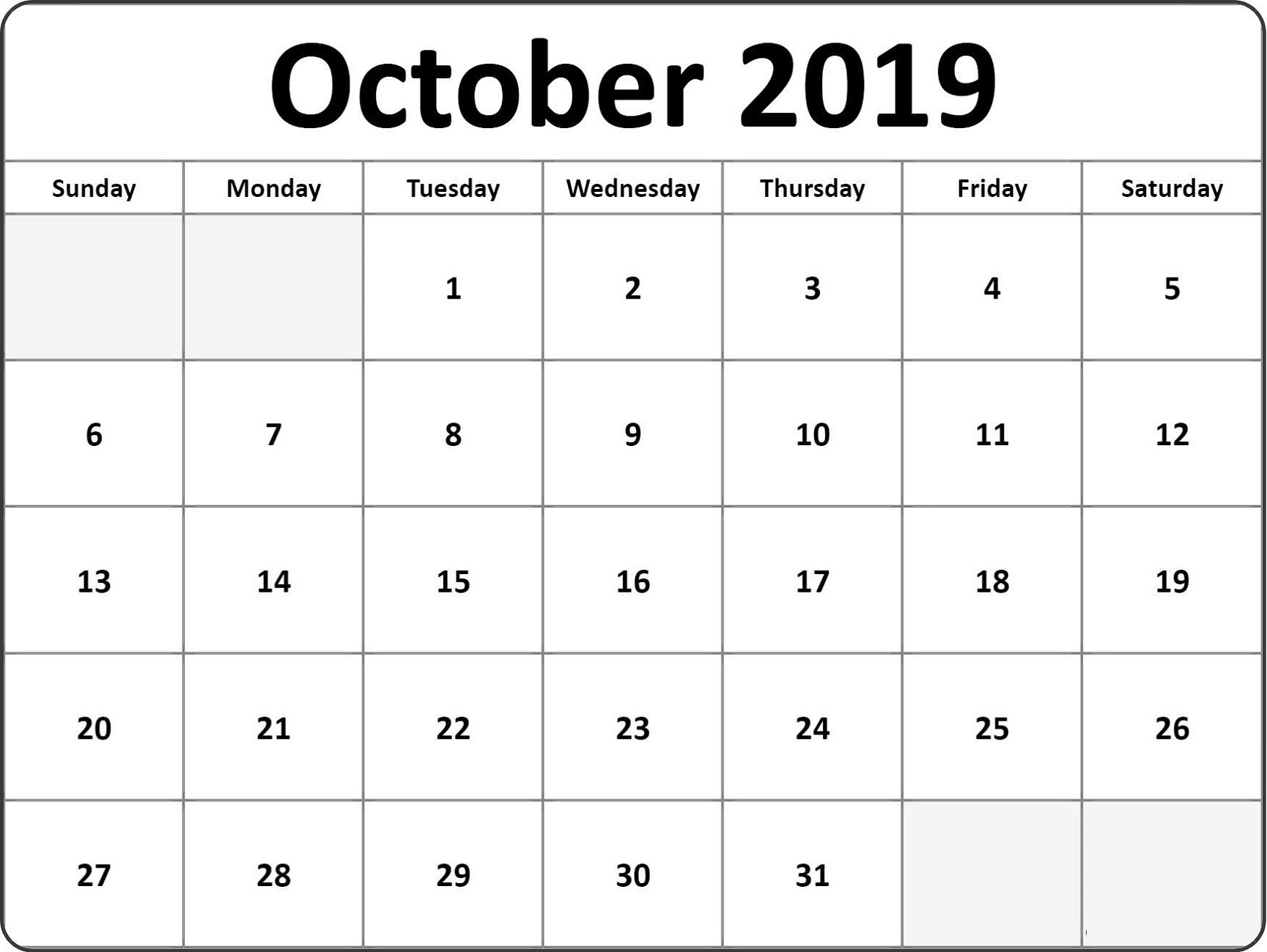 October 2019 Printable Calendar | Calendar Shelter  Rancholasvoces Free Printable Calendar