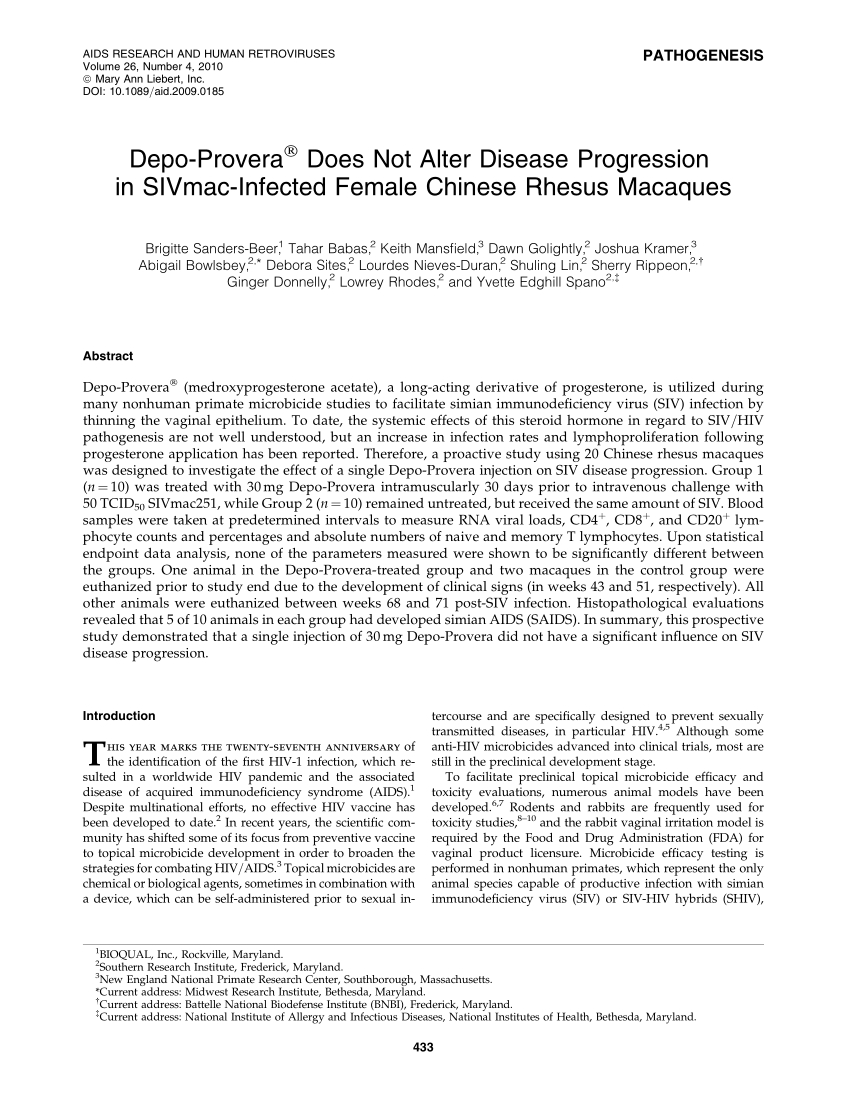 Pdf) Depo-Provera ® Does Not Alter Disease Progression In  Depo Provera Schedule 15 Week 2020