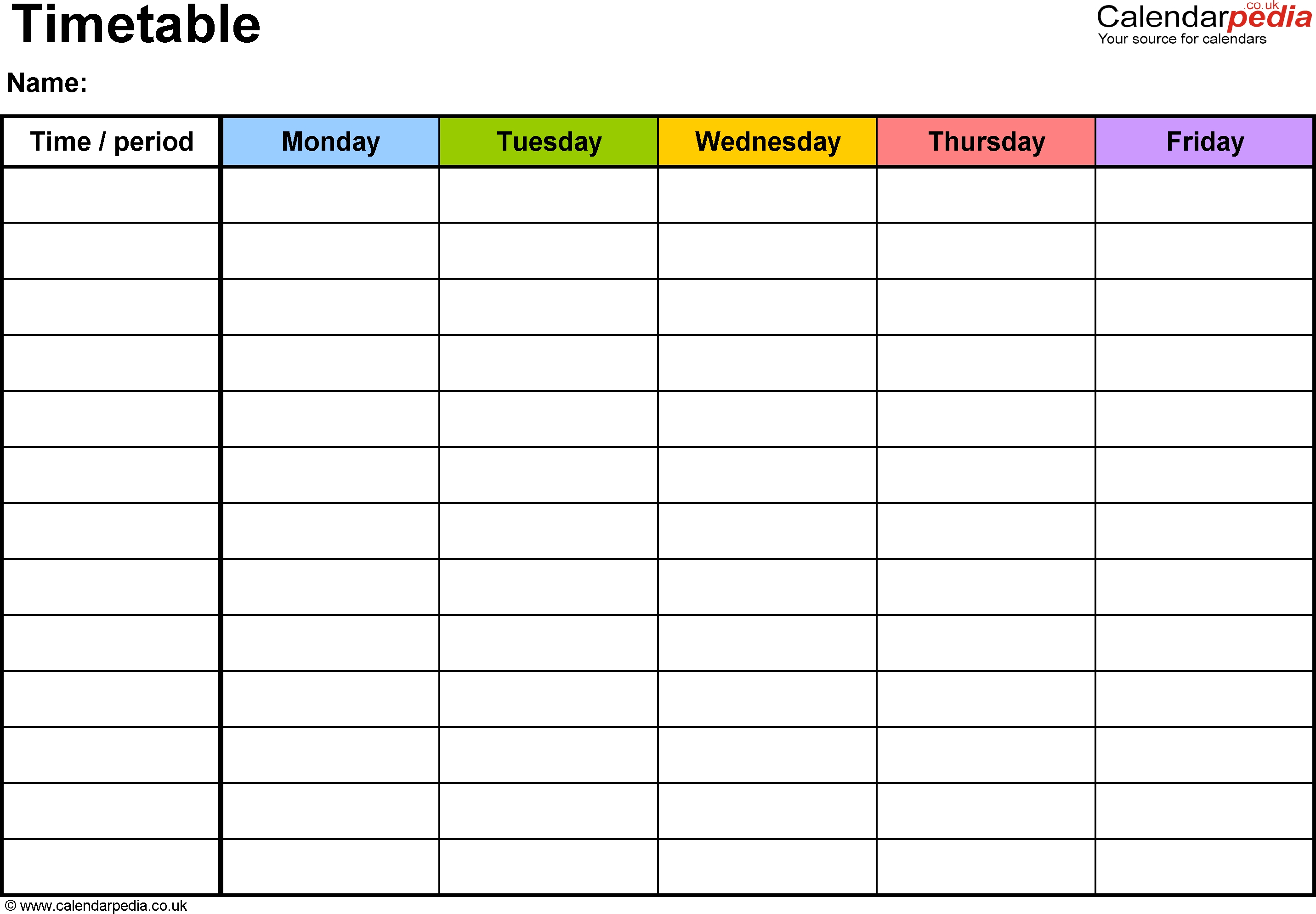Pdf Timetable Template 2: Landscape Format, A4, 1 Page  Monday Through Friday Scheule Pdf