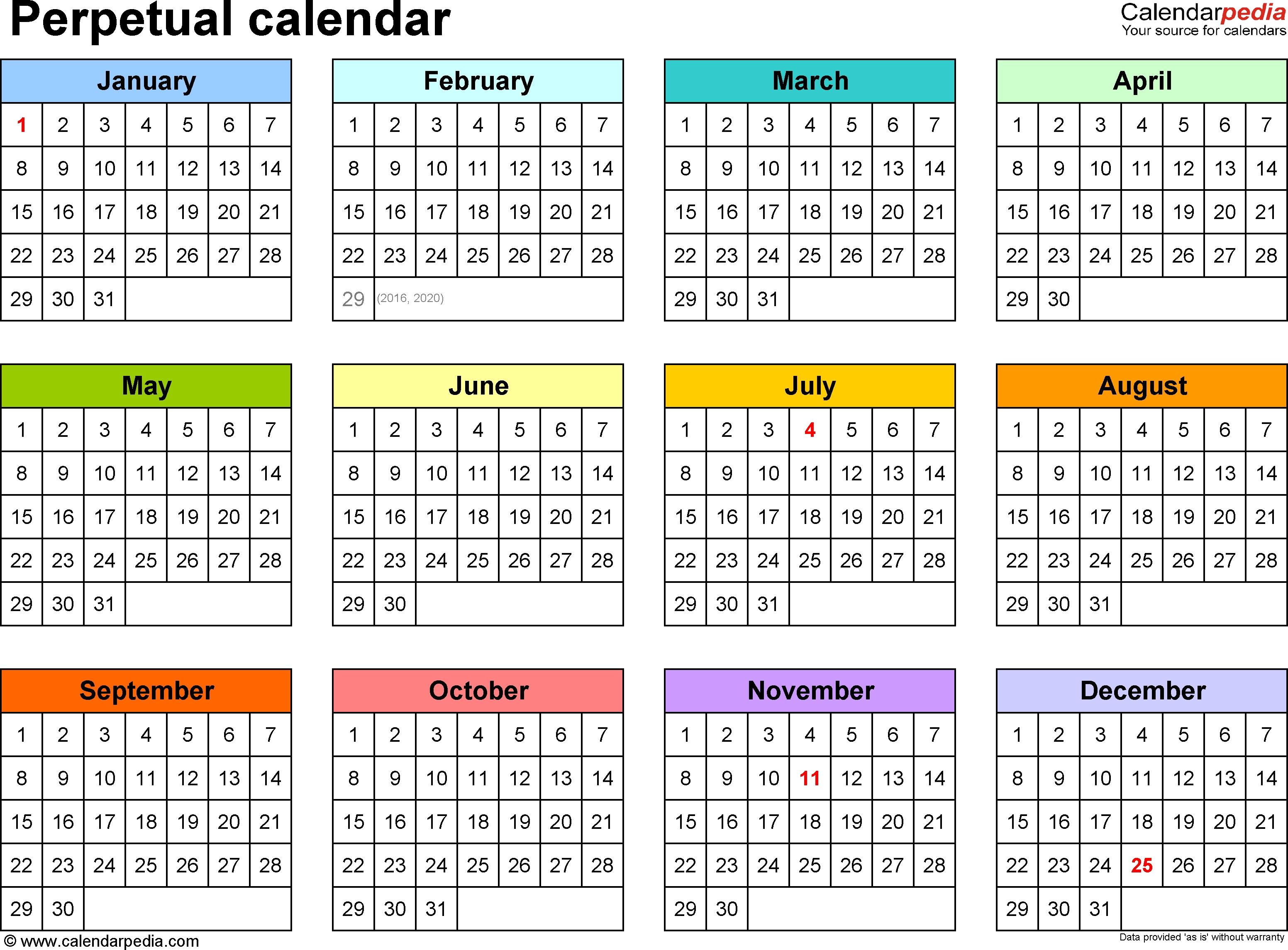 Perpetual Calendars - 7 Free Printable Word Templates  Depo Perpetual Calendar 2020