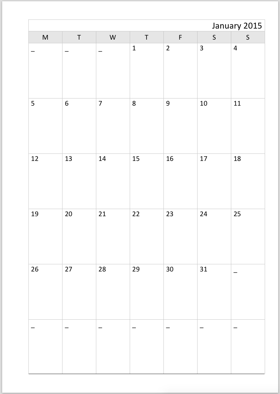 Philofaxy: Diary Inserts  +2020 Calender Month By Month