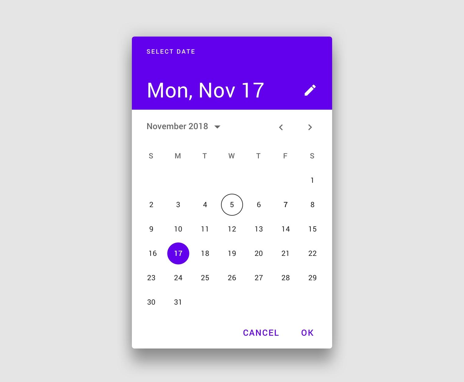 Pickers - Material Design  Date Code Calendar