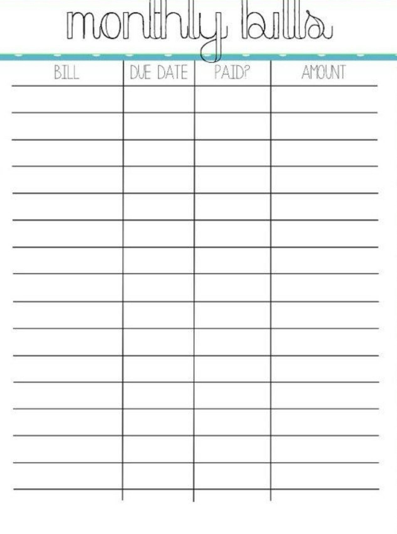 Pincrystal On Bills | Organizing Monthly Bills, Bill  Fillable Monthly Bill Payment Worksheet
