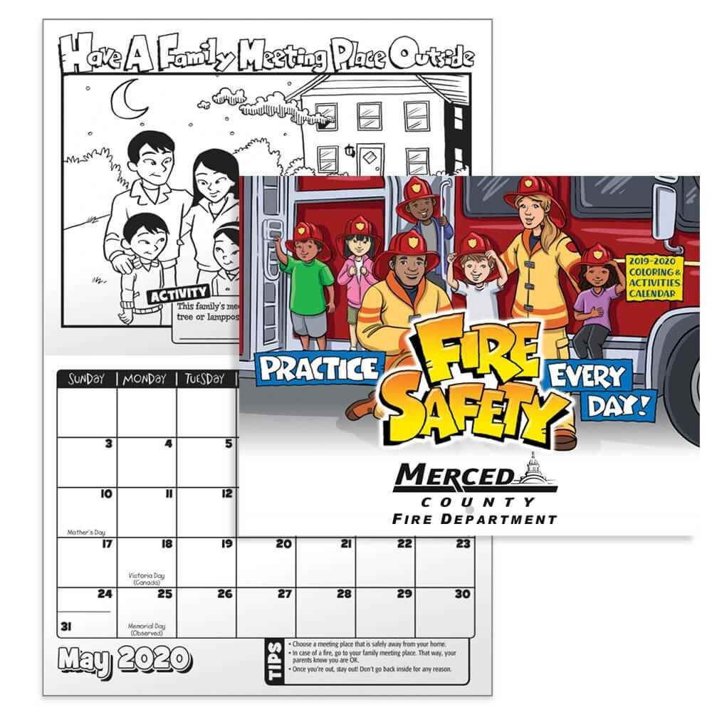 Practice Fire Safety Coloring & Activities 2019-2020 Calendar  Fire Department Schedule 2020