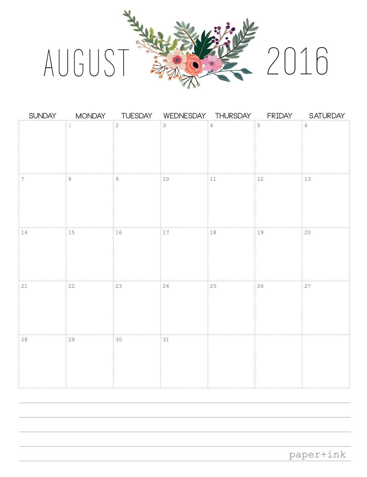 Pretty Unpretentious: Free Printable : August 2016 Calendar  Pretty Monthly Calendar