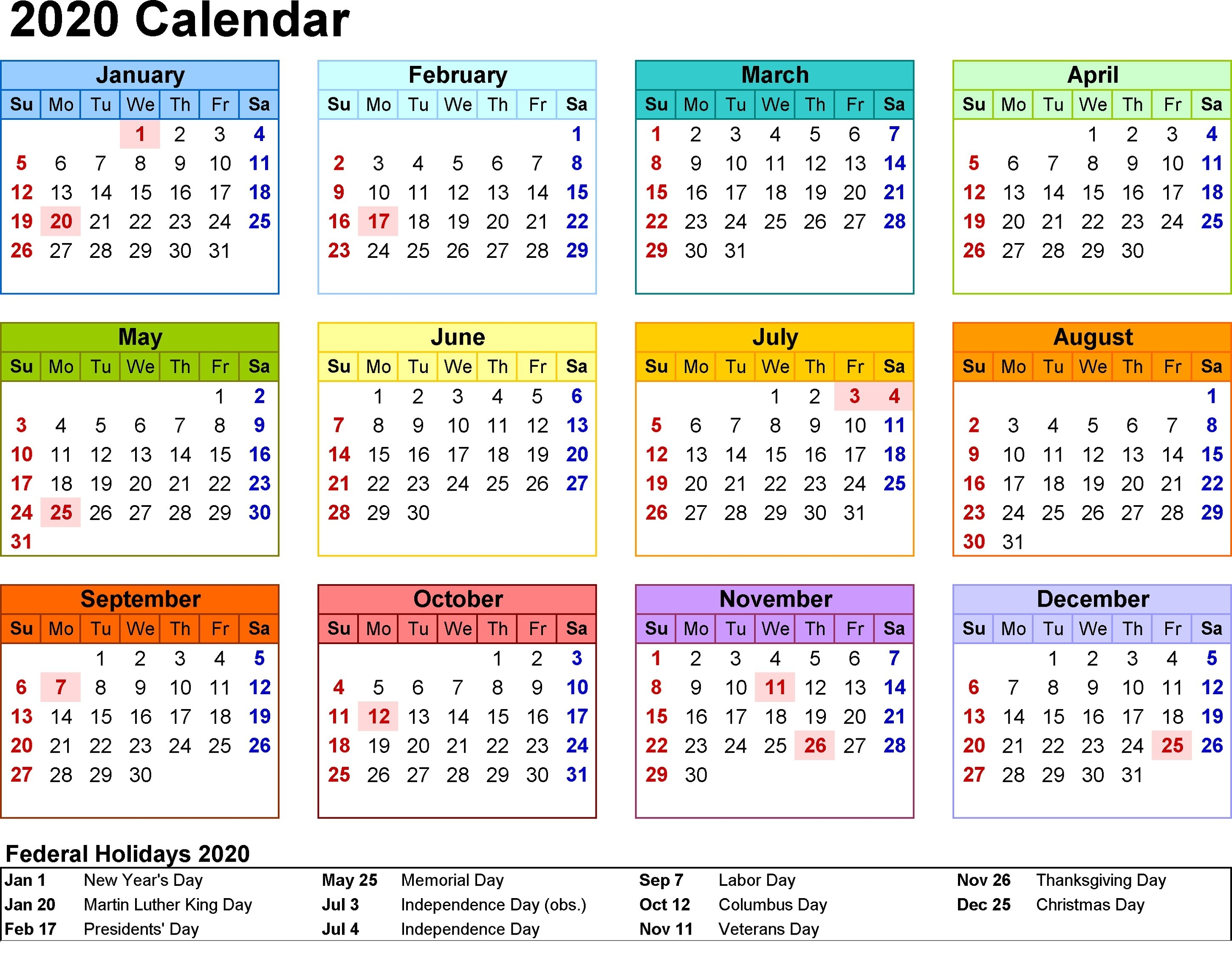 Print Blank Calendar 2020 Yearly And Monthly | Calendar Shelter  Print Full Page Calendar 2020