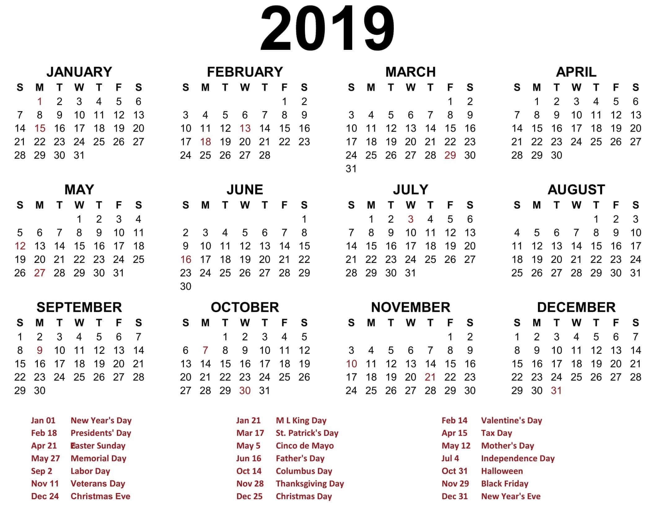 Print Calendar 2019  Ber 2020 Full Page Calendar