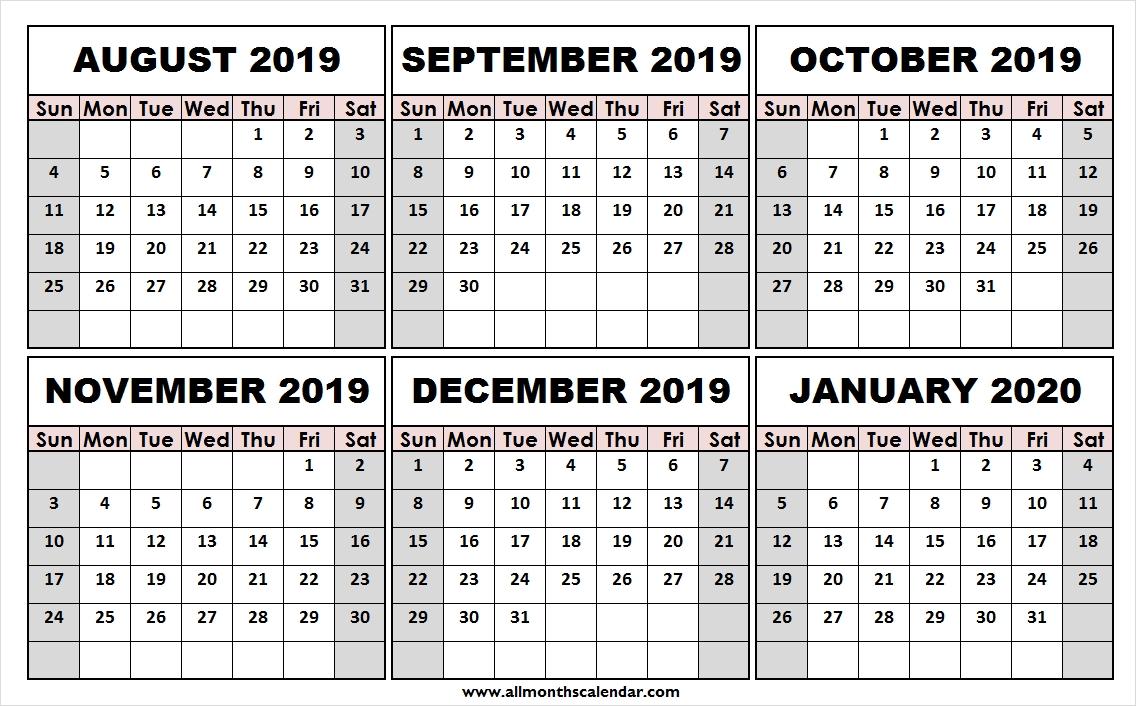 Print Free August 2019 January 2020 Calendar | Template To Print  August To December 2020 Calendar