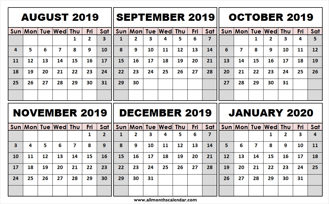 Print Free August 2019 January 2020 Calendar | Template To Print  Calendar August To December 2020