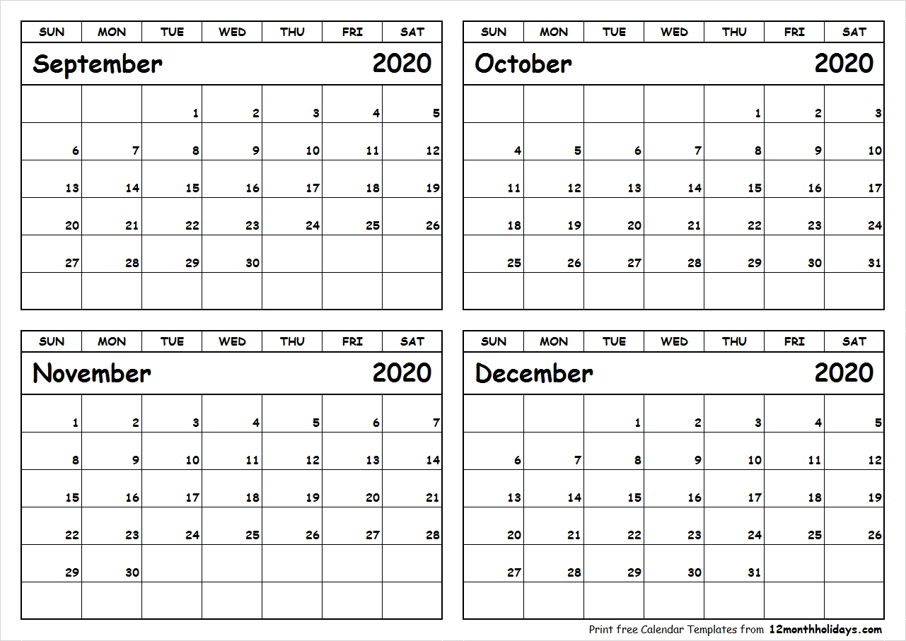 Print September To December 2020 Calendar Template | 4 Month  Calendar August To December 2020