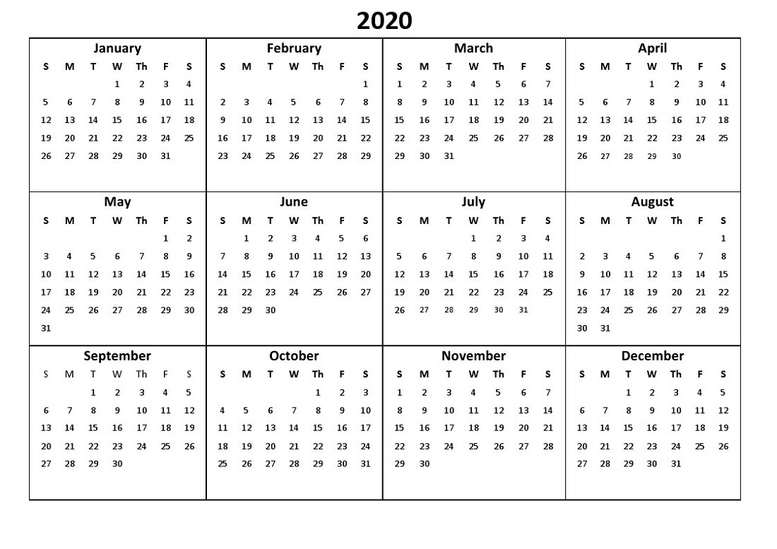 Printable 12 Month Calendar 2020 Various Size | Calendar Shelter  Full Size Calendar 2020
