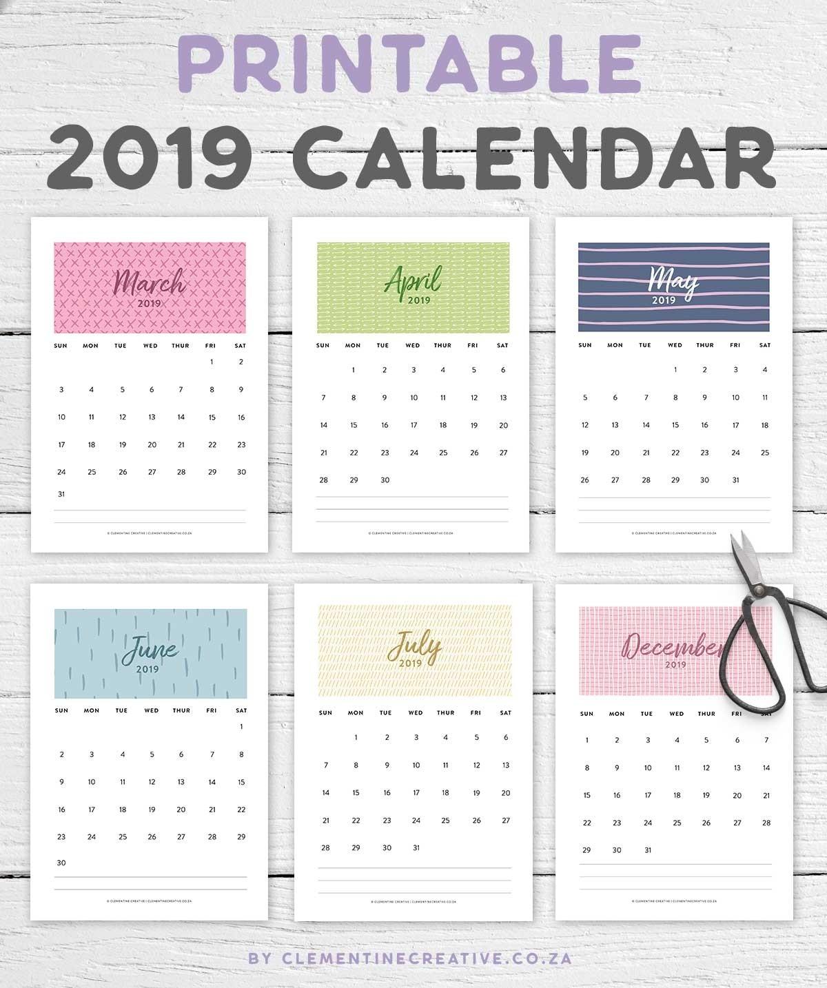 Printable 2019 Calendar | A Pretty Monthly Calendar  Pretty Monthly Calendar