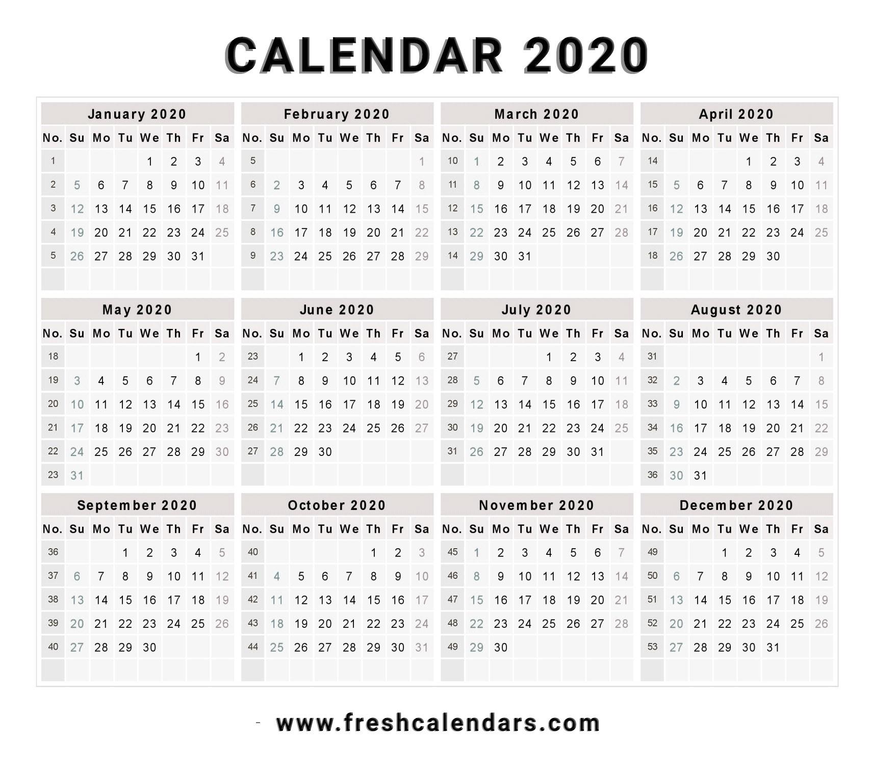 Printable 2020 Calendar – Calendar Printable Week  Weekly Payroll Calendar 2020 Printable