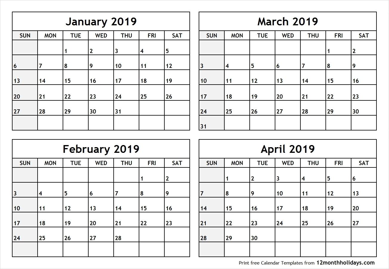 Printable 4 Month Calendar 2019 – Rama.ciceros.co-Printable  Printable Calendar 2020 3 Months Per Page