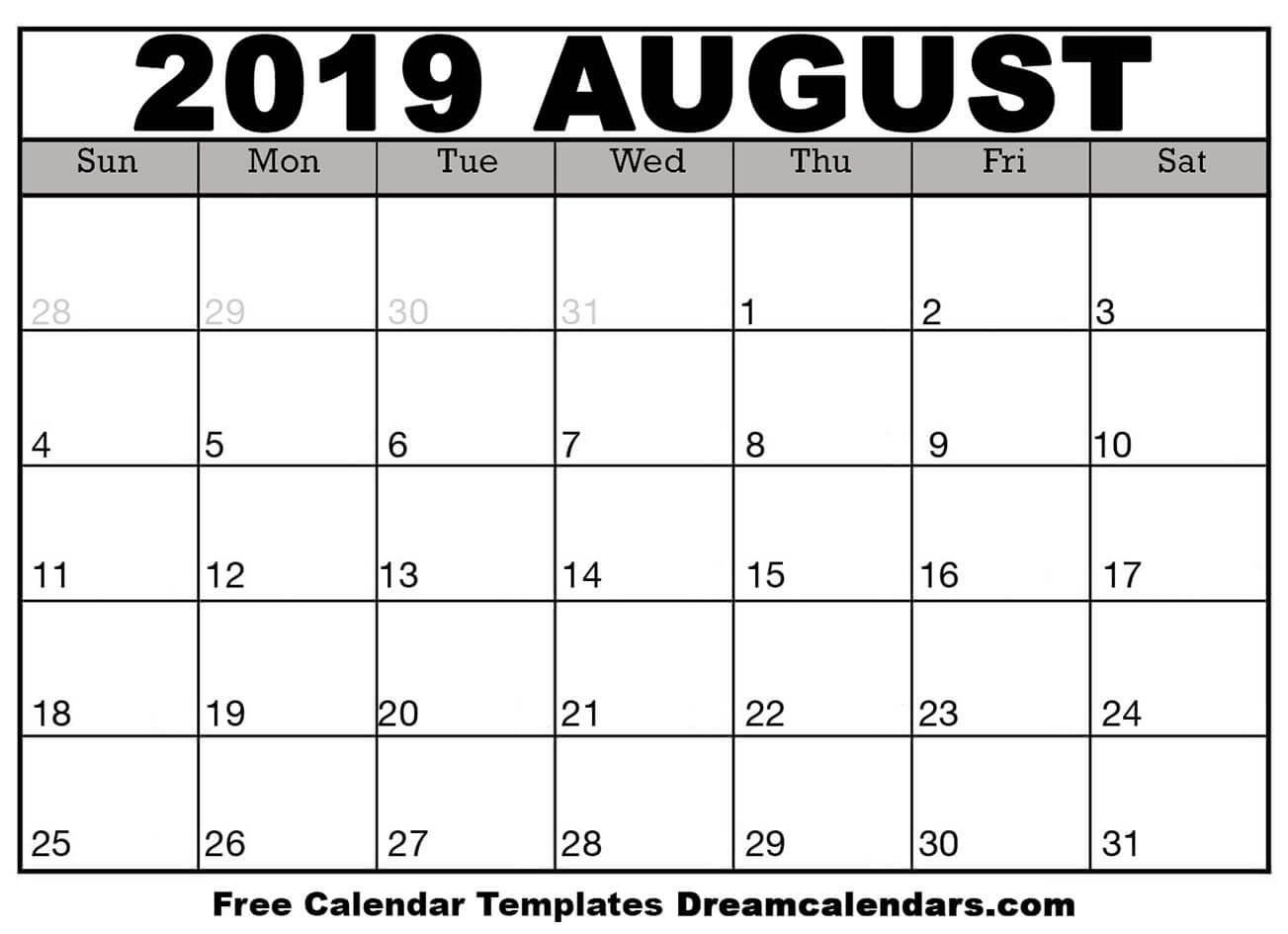 Printable August 2019 Calendar  Monthly Calendar August  2020 8 X 11