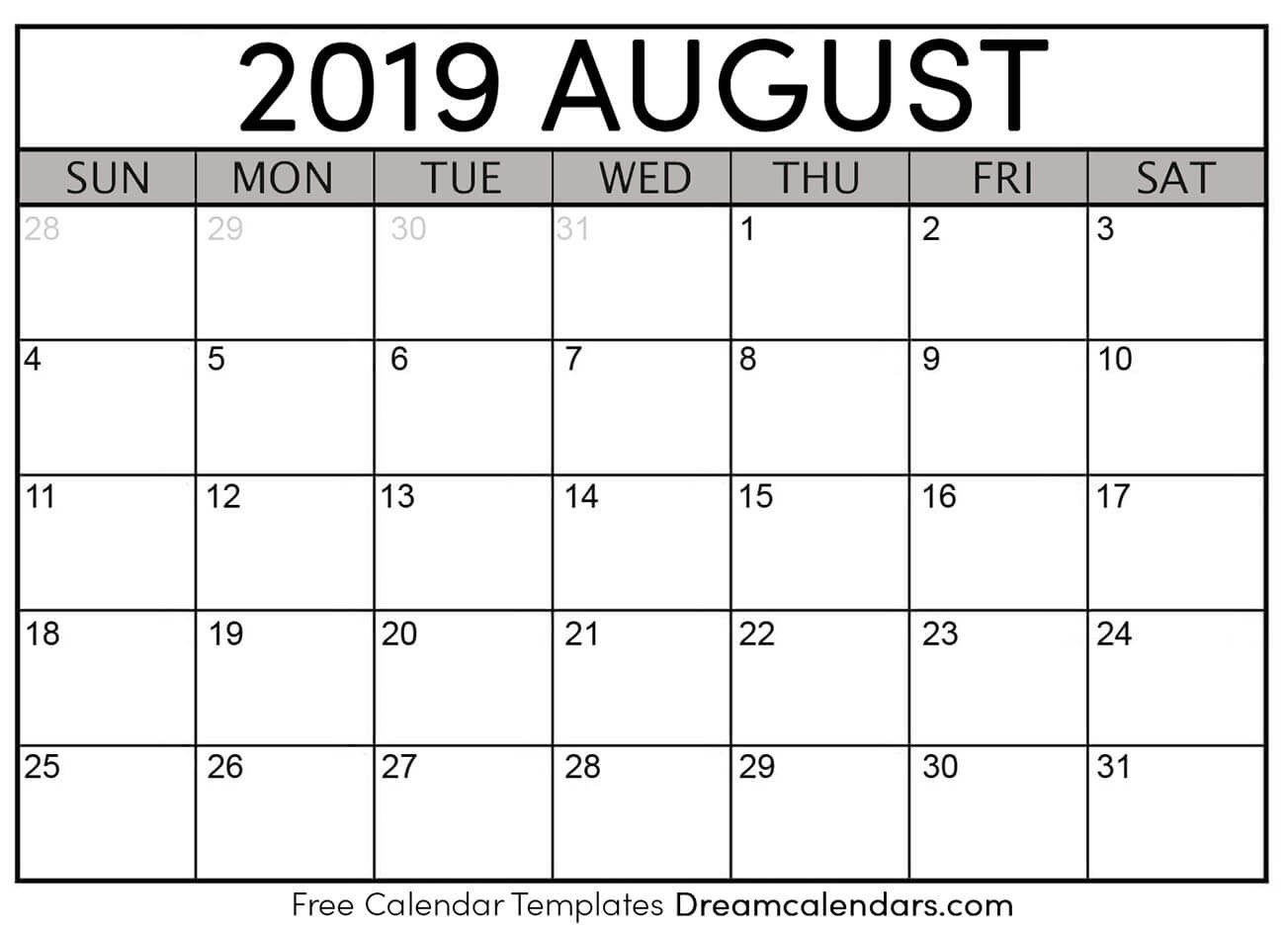 Printable August 2019 Calendar  Monthly Calendar August  2020 8 X 11