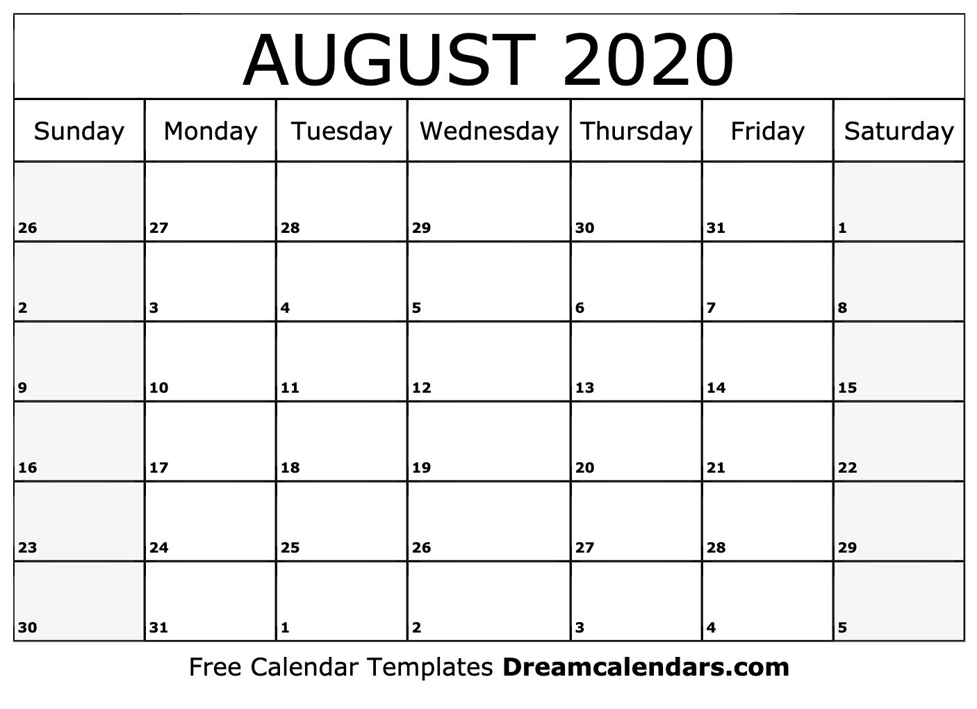 Printable August 2020 Calendar  Calendar 2020 August To December Template