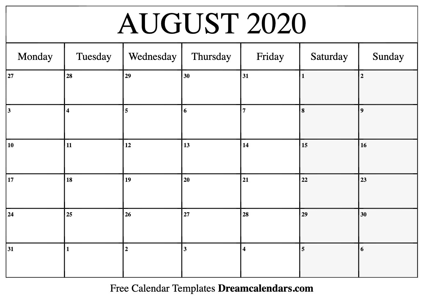 Printable August 2020 Calendar  National Day Calendar August 2020