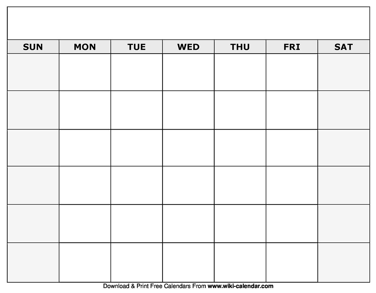 Printable Blank Calendar Templates  Full Page Blank Month Calendar