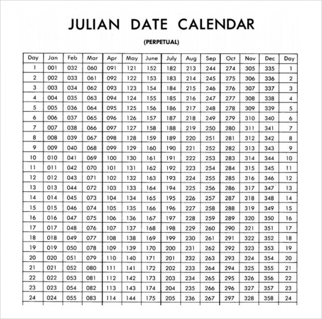 Printable Calendar 2018 Julian Dates | Printable Calendar 2019  365 Day Julian Calendar