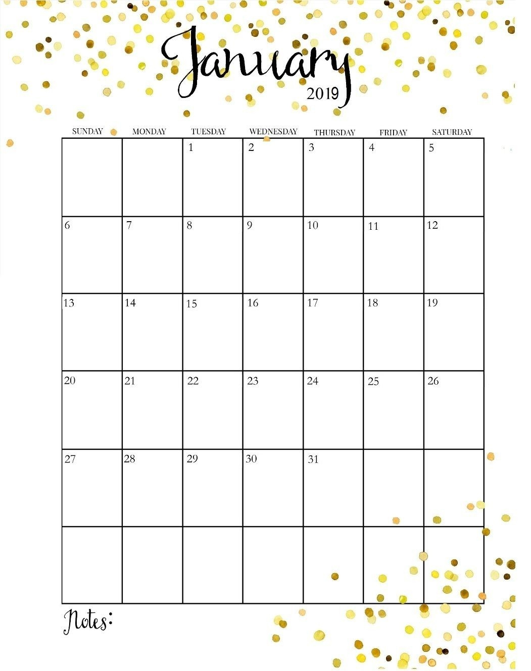 Printable Calendar 2019 Pretty | Printable Calendar 2019  Pretty Monthly Calendar