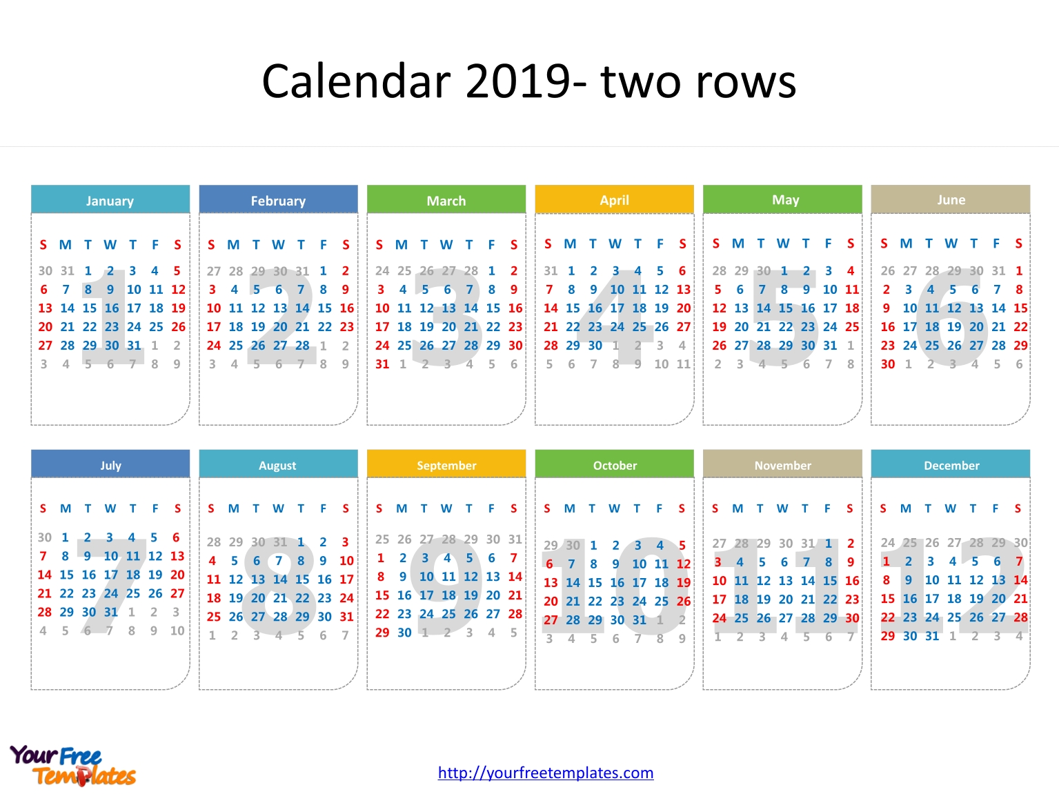 Printable Calendar 2019 Template - Free Powerpoint Templates  Calendar At A Glance Template Powerpoint