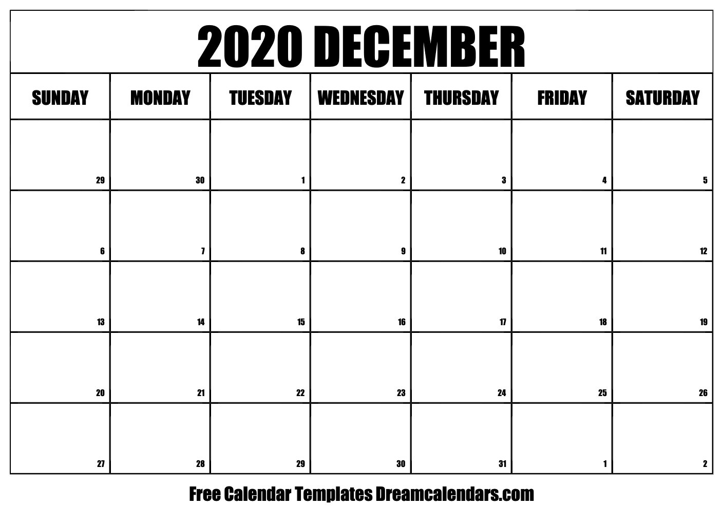 Printable December 2020 Calendar  Aug - Dec 2020 Calendar