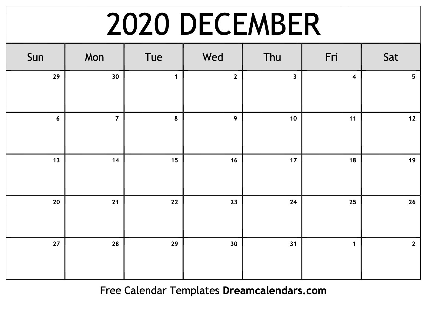Printable December 2020 Calendar  Calandar For August To December 2020