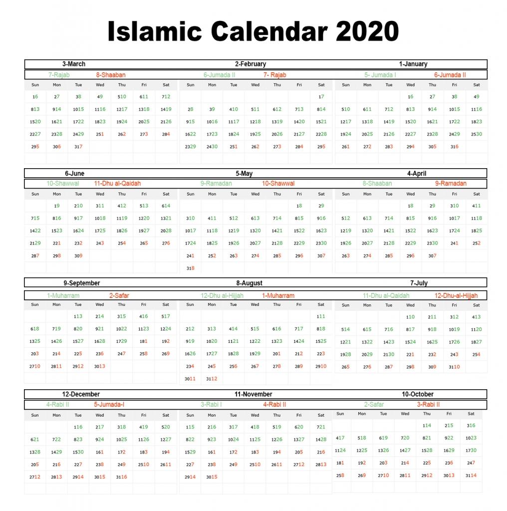 Printable Islamic 2020 Calendar | Hijri Calendar 1441  Shia Islamic Calendar 2020