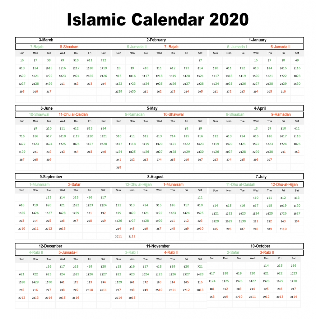 Printable Islamic 2020 Calendar | Hijri Calendar 1441  Shia Islamic Hijri Calendar 2020