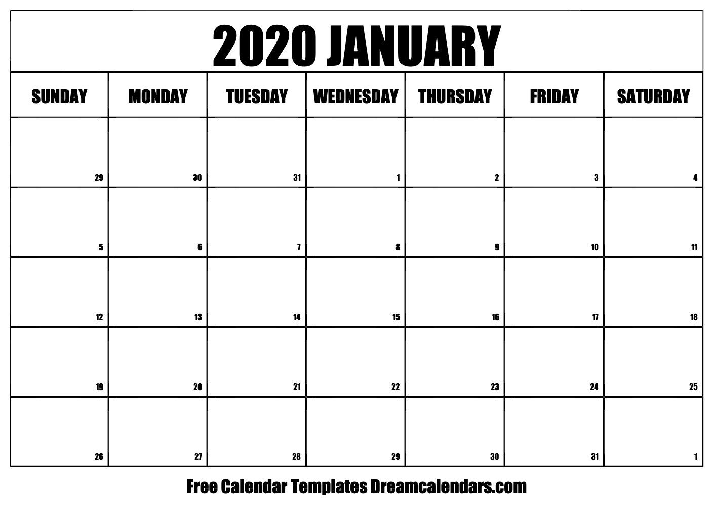 Printable January 2020 Calendar  Printable Liturgical Calendar For 2020