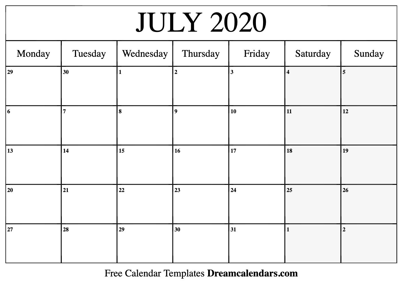 Printable July 2020 Calendar  Sept 2020 Calender Monday Thru Sunday