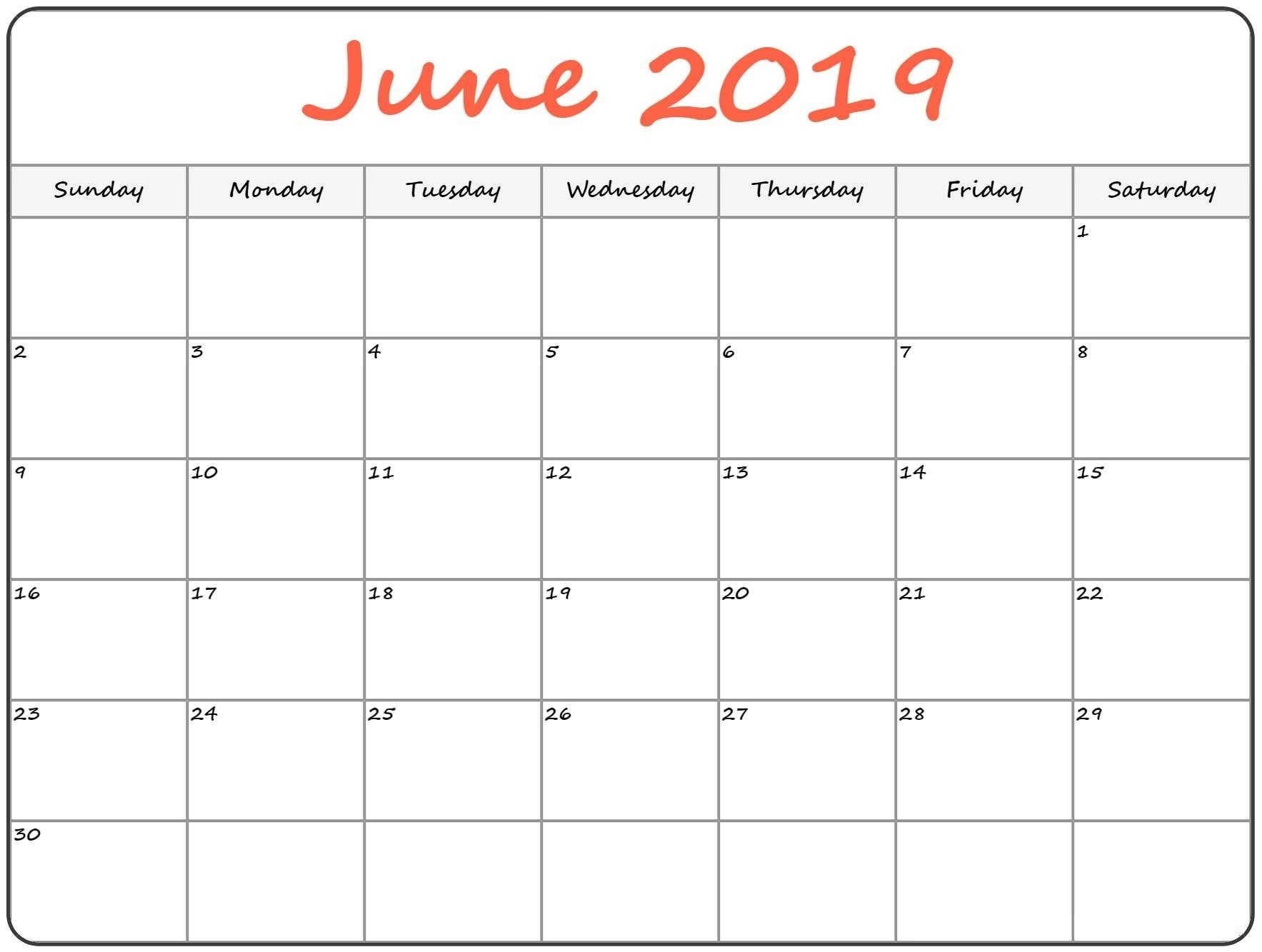 Printable June 2019 Calendarmonth - Free Printable  Blank Full Page Calendar Printable June