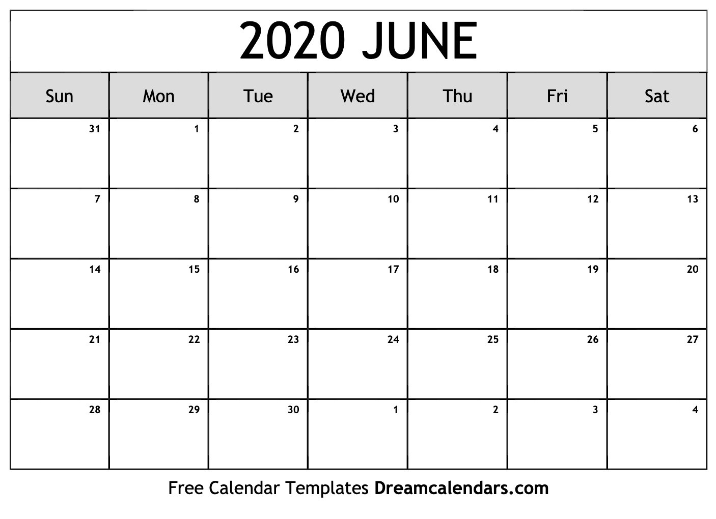 Printable June 2020 Calendar  National Day Calendar June 2020
