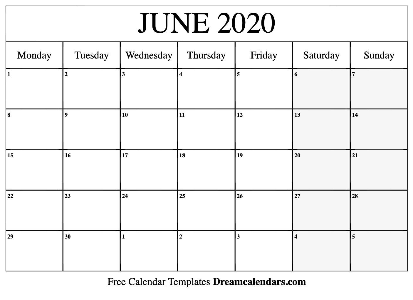Printable June 2020 Calendar  Printable Full Size Septmeber 2020 Calendar