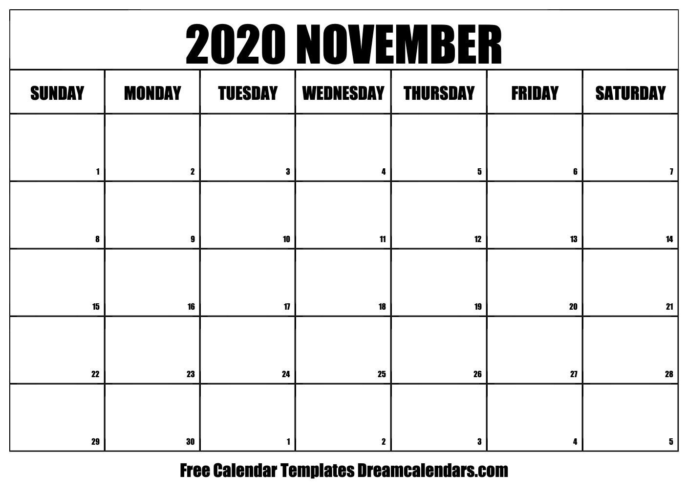 Printable November 2020 Calendar  Novemner 2020 Full Page Calander Template