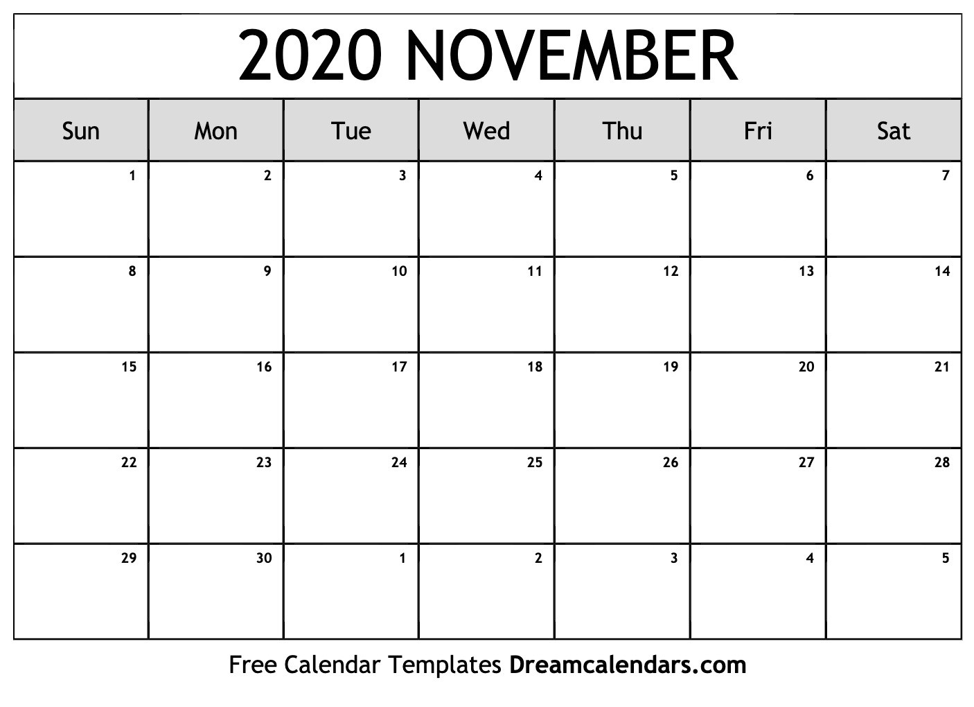 Printable November 2020 Calendar  Novemner 2020 Full Page Calander Template