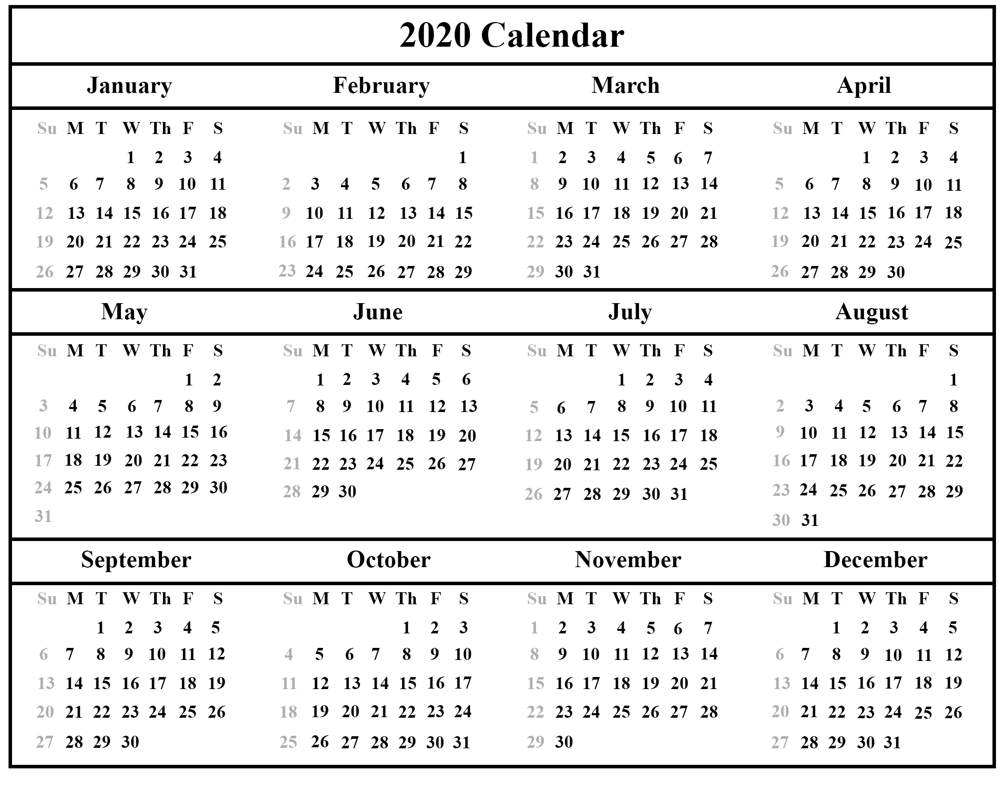 Printable Yearly Calendar 2020 Template With Holidays [Pdf  Calendar 2020 August-December